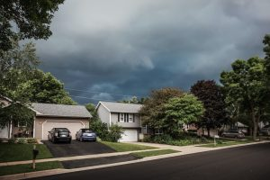 storm clouds over house